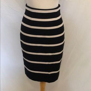 Banana republic black & white striped skirt sz 2